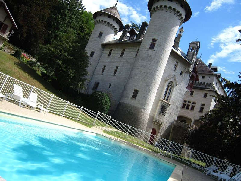 Castle apartment with swimming pool and beautiful view of Grand Colombier, holiday rental in Vallieres