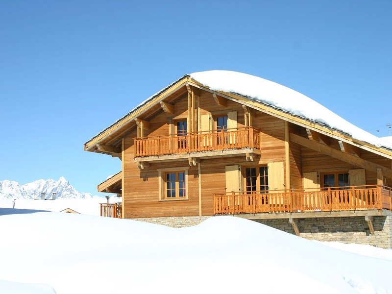 Luxurious and cozy wooden chalet with wellness center near the Alpe d'Heuz, holiday rental in La Garde