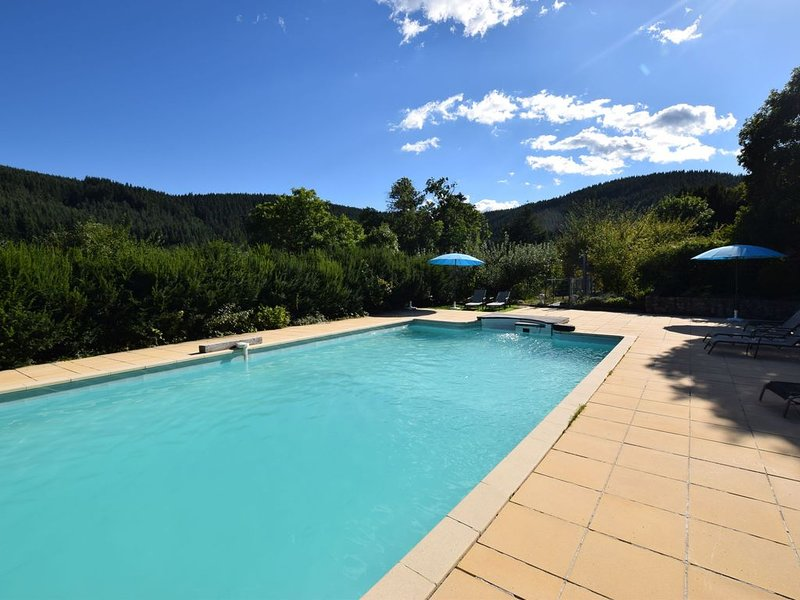 Former coach house in a castle with park garden, large swimming pool in Ardeche, casa vacanza a Gluiras
