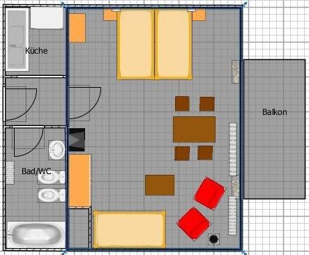 Ferienwohnung Ost-Seite mit 50qm, 1 Wohn-/Schlafzimmer, für maximal 2 Personen, alquiler vacacional en Bad Wildbad