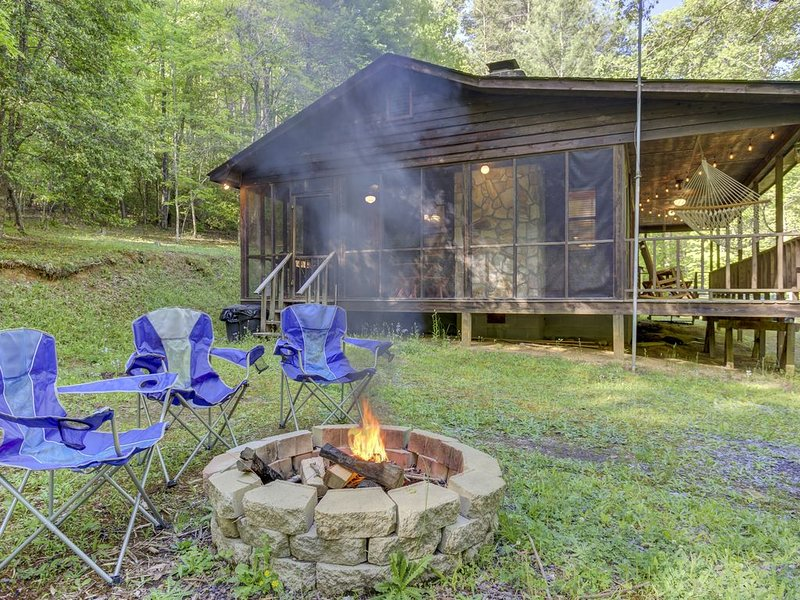 Secluded, dog-friendly cabin on three gorgeous acres with a creek & firepit, alquiler de vacaciones en Morganton