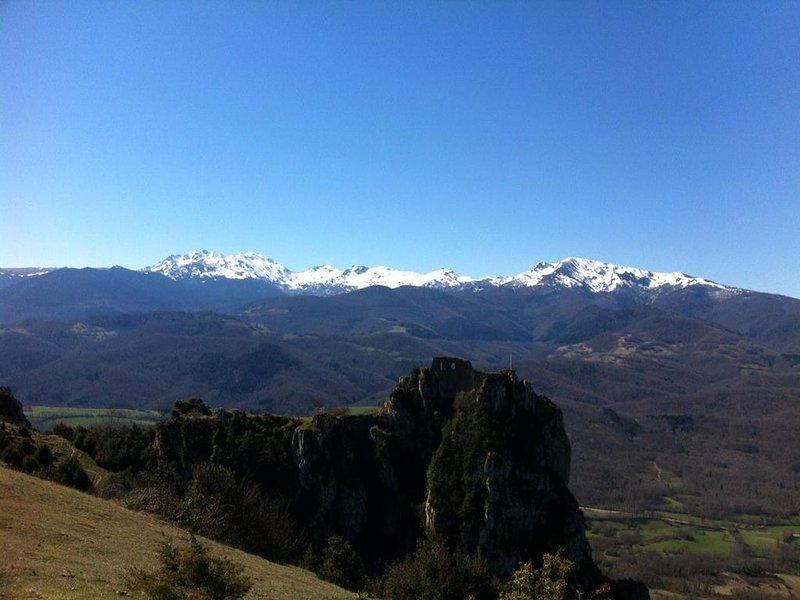 Maison et jardin situés dans village de caractère - vue panoramique, holiday rental in Les Monts d'Olmes