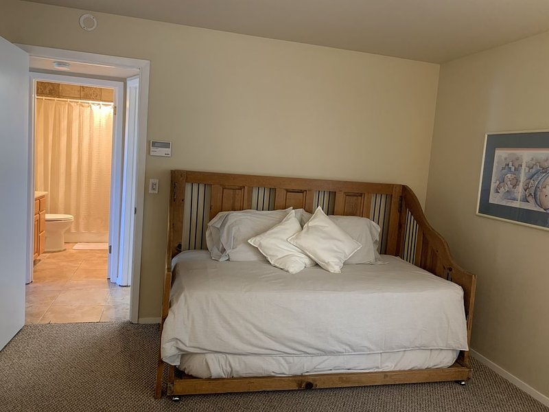 Twin bed with twin trundle in downstairs bed with king bed