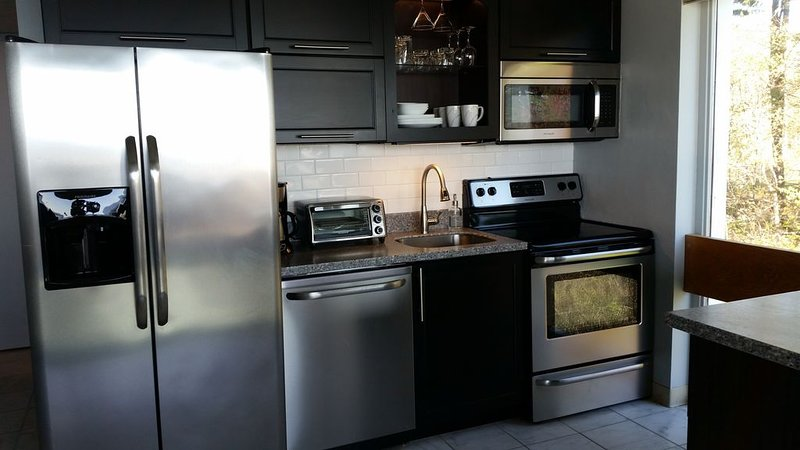 Stainless steel, solid surface, subway tile backsplash and a dream to cook in!