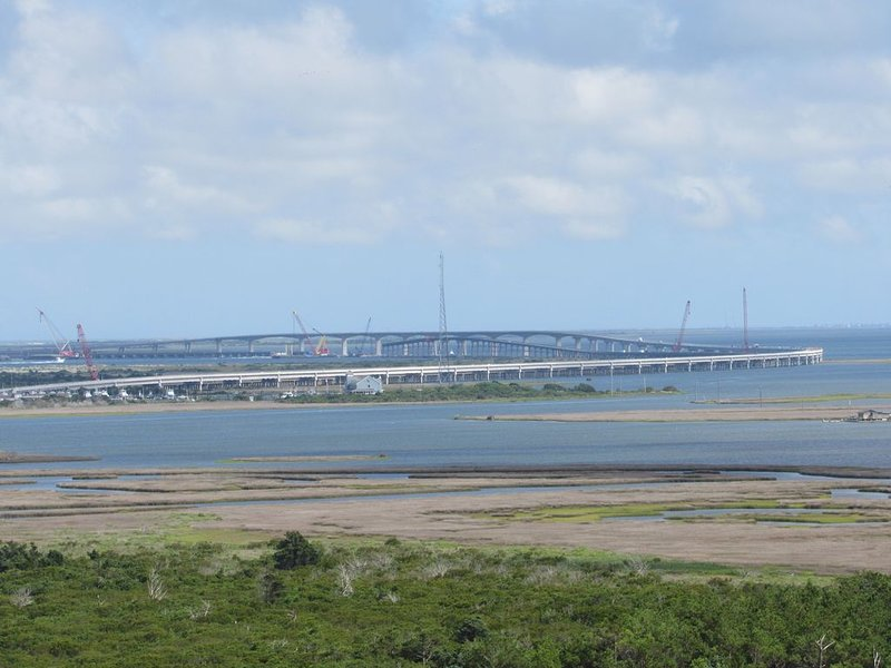 View of old and new Oregon Inlet Bridges. Taken from top of Bodie Island Light.