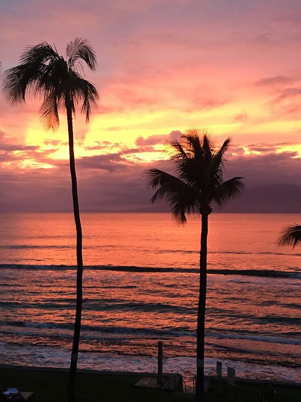 Gorgeous sunset from the lanai.  You can fall asleep to the sound of the waves!