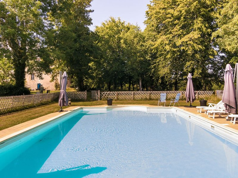 Heritage Castle in Chaleix with Shared Pool, holiday rental in Saint-Priest-les-Fougeres