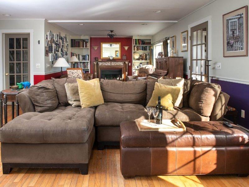 Doppio salone ha 3 divani, 3 poltrone, camino in legno funzionante, pianoforte, TV HD