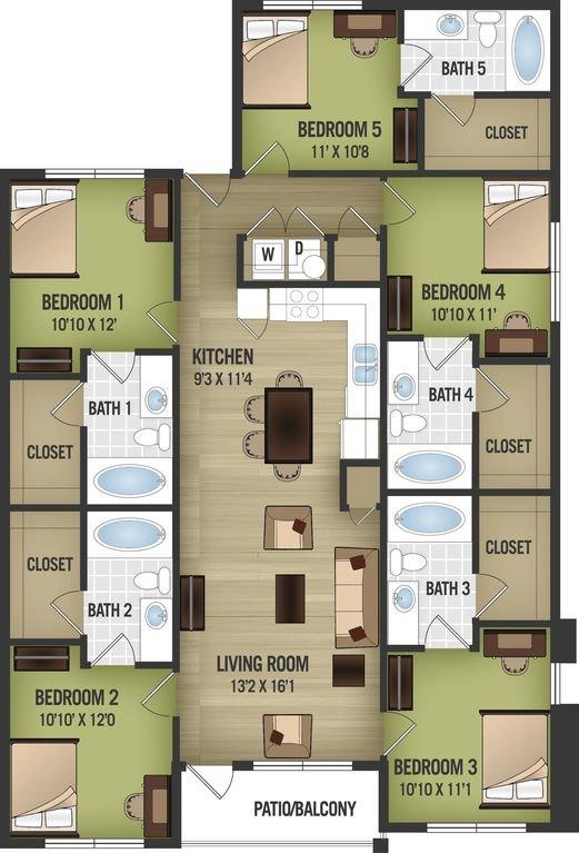 Floor Plan Layout 5 bedrooms 5 baths. 1st floor with patio