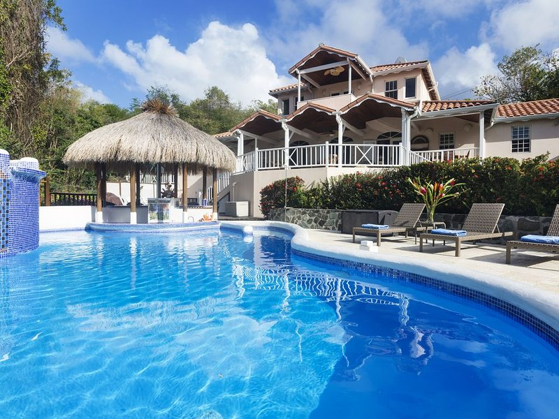 One of the largest private pools in St. Lucia and one of the only swim-up bars