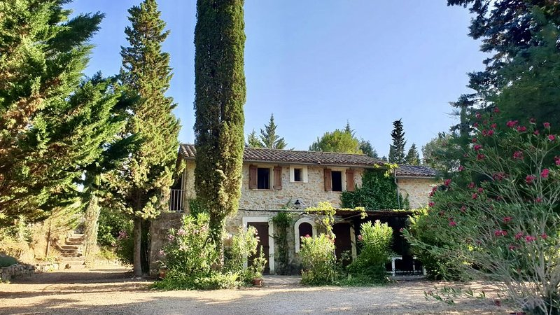 Cotignac. Pretty stone cottage in 2 acres. Totally private heated pool, min 25°C, holiday rental in Var