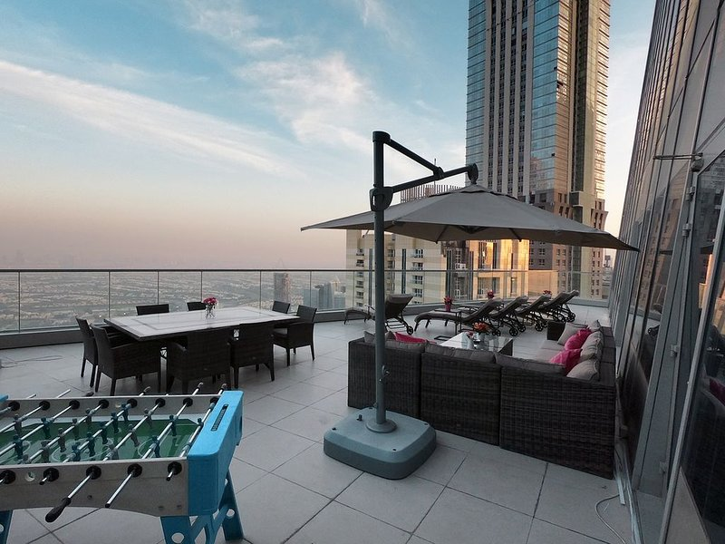 100 sqm private terrace overlooking Dubai. Foosball table for fun nights :)