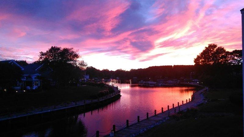 Soirée coucher de soleil vue depuis le balcon