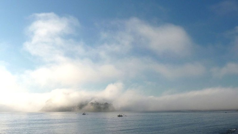 Typical morning mist over Lion Island in Spring and Autumn