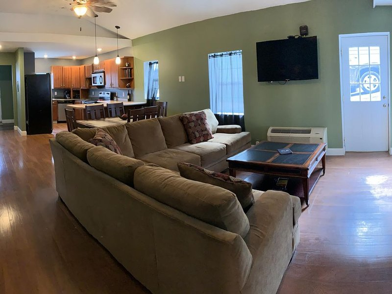 Living Room, Dining Area, and Kitchen View
