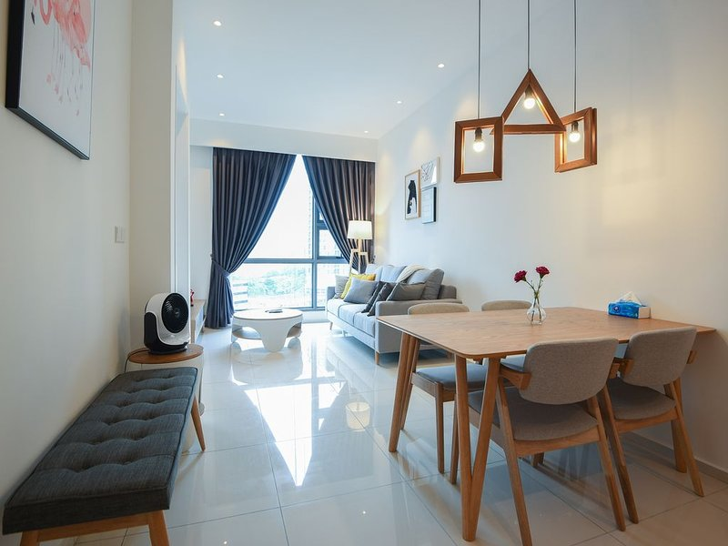 Dining Area equippe with full dining table and chairs. Perfect for family-size.