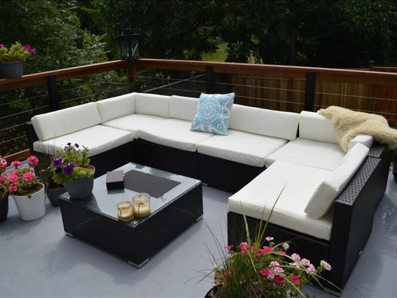 New Patio Set Sets on Large Balcony Overlooking the Backyard. The Sundeck Get Sun all Day and has a Great Bbq