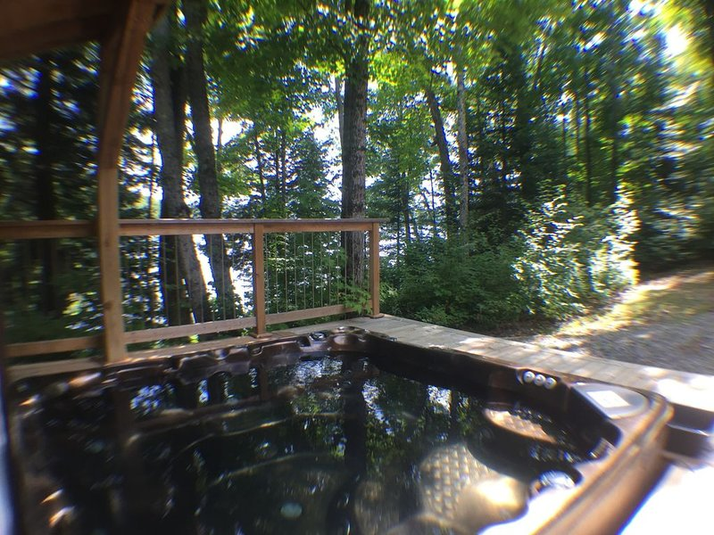 Hot tub seats 8 and has lights, fountain and lake view