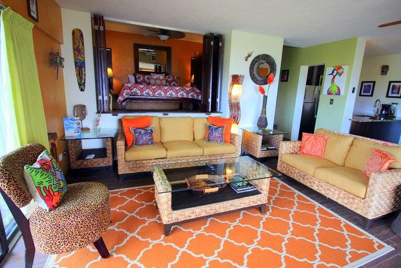 Spacious living area with sleeper sofa.