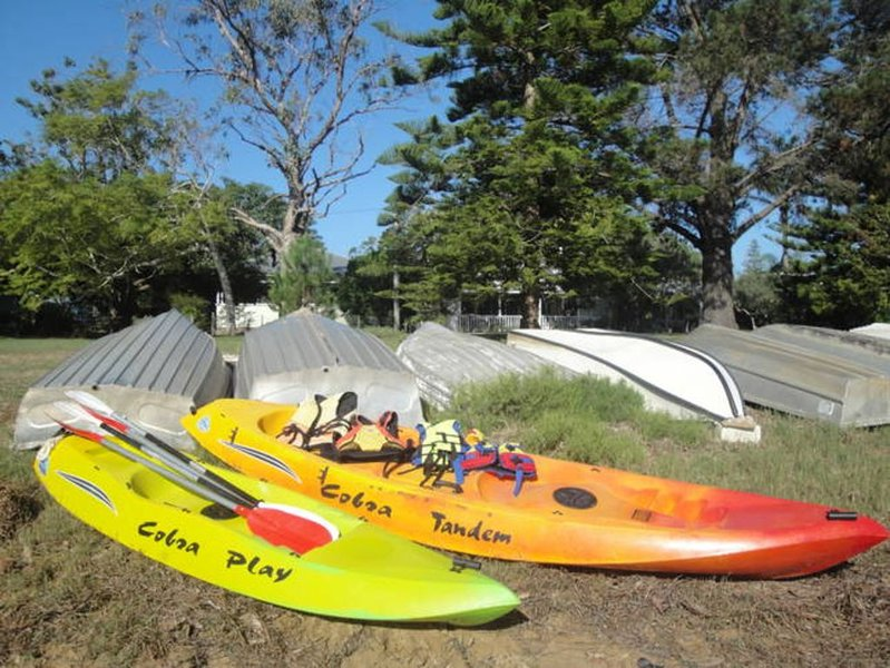 Kayaks and accessories available for guest use on Patonga Creek