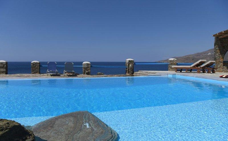 Villa Akrivi is a spacious newly renovated, sea front property, 5 bedroom 4 bath, holiday rental in Triantaros
