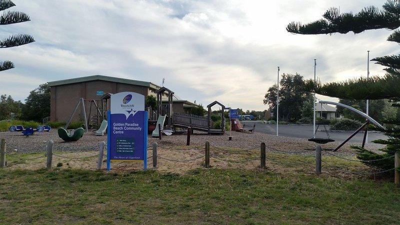 Children's play equipment at Golden Beach 10 minute drive away.