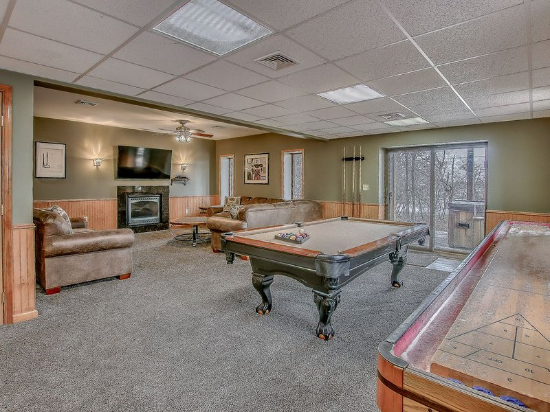 Game Room in Our Poconos Lake Rental with Pool Table.
