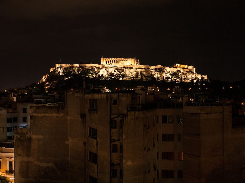 Roof top terrace with Acropolis view at night