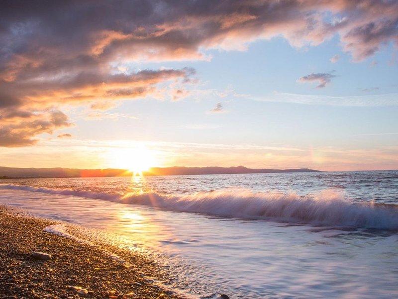 Pôr do sol, argaka, praia