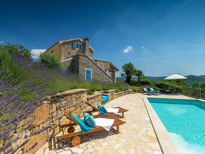 Picture-perfect stone villa overlooking Motovun, holiday rental in Vizintini Vrhi