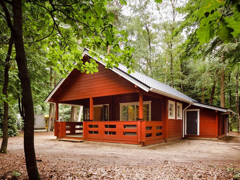 Cozy, wooden lodge with a veranda, located in the Veluwe, holiday rental in Vaassen