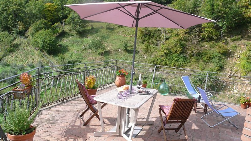 Village Apartment with Large Private Terrace & Spectacular Mountain Views, holiday rental in Tavernelle
