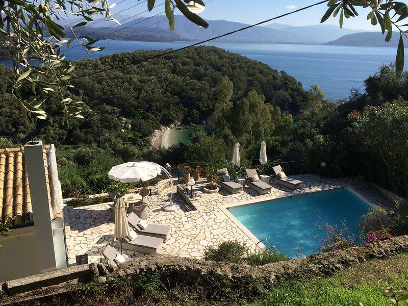 Beautiful villa in stunning location near Kalami and Agni with heated pool., holiday rental in Corfu