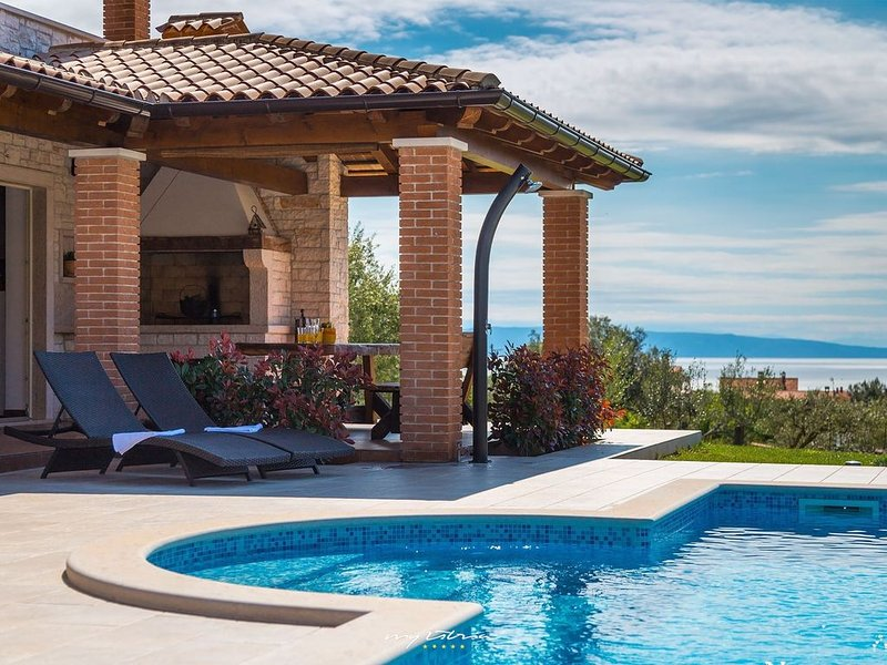 Charming villa with beautiful sea view near Pula, location de vacances à Segotici