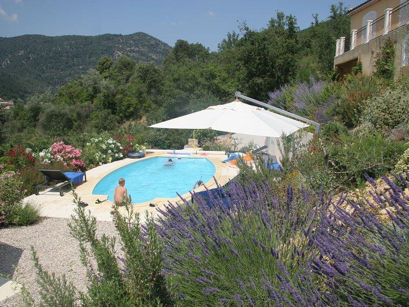 Luxe villa met verwarmd zwembad en panorama, 10 min stappen van het oude Nyons, holiday rental in Sahune
