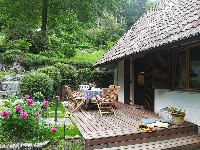 Family-friendly house ISKARETREAT on the private glade in the Iški vintgar gorge, casa vacanza a Vrhnika