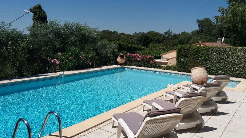 Grande maison dans un magnifique jardin méditerranéen - Piscine et chalet privé, holiday rental in Saint-Quentin-la-Poterie