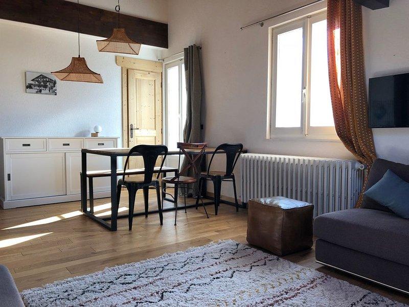 Charmant appartement de 71m2 en duplex. Spacieux, cosy et plein centre!, holiday rental in Magland