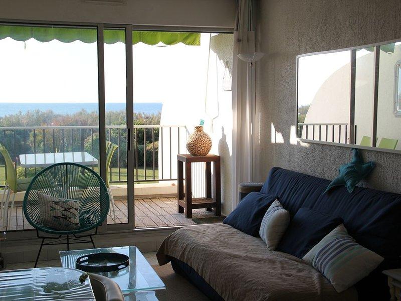 Superbe T2 + cabine, face a la mer. Tout équipé (Tv, Hifi,transats...)., holiday rental in La Grande-Motte