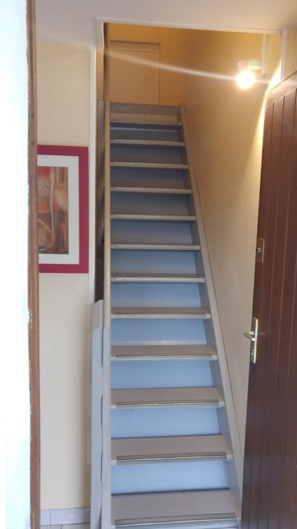 the entrance with the stairs leading to the living room