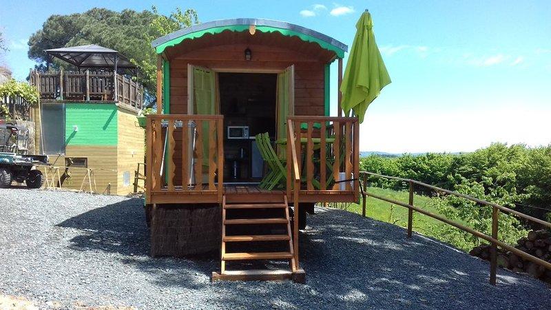 une roulotte toute en bois au domaine de la Morétie, holiday rental in Brignac-la-Plaine