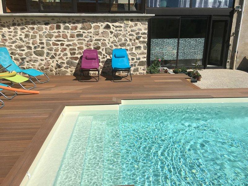 Les Vieux Murs, un grand appartement avec étage et piscine, holiday rental in Quincie-en-Beaujolais