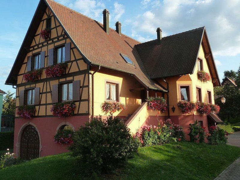 Le Marronnier. Maison traditionnelle Alsace. Vue sur le vignoble et le St Odile, aluguéis de temporada em Epfig