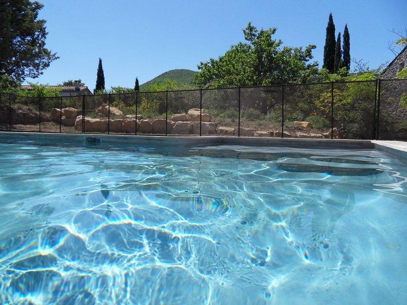 gite en sud Ardèche avec piscine (4 X 8) sur grand terrain clos (4000m), holiday rental in Gras