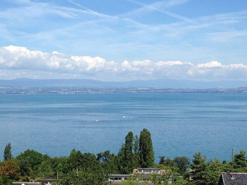 Appt F3 à 800m du Golf d'Evian, superbe vue lac ds résidence avec piscine (4/6p), vacation rental in Tolochenaz