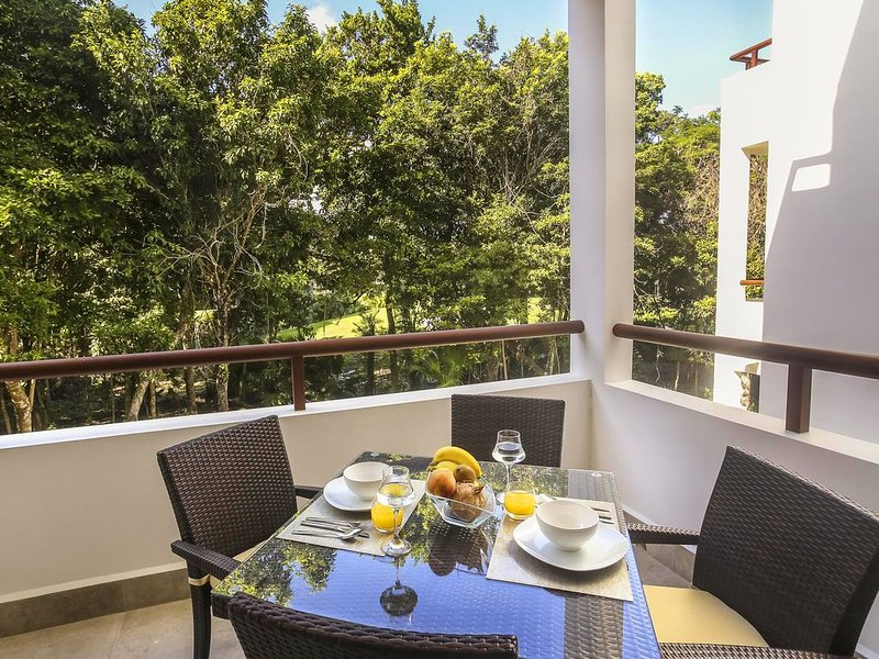Balcony with a beautiful, green view of the golf course