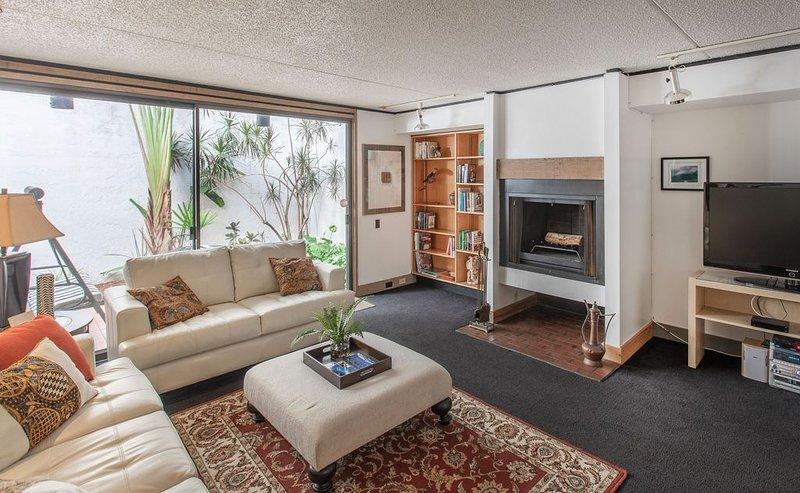 Sala de estar con chimenea de leña.
