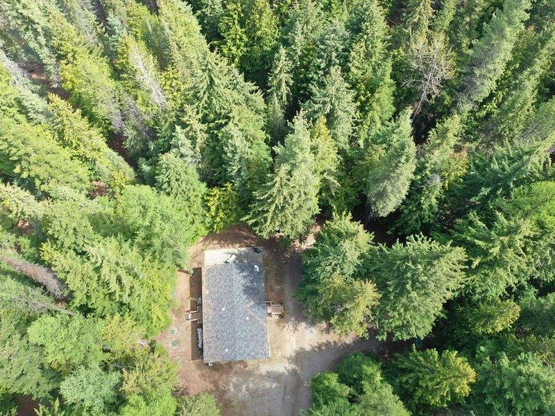 Vista aérea de la casa en el bosque.
