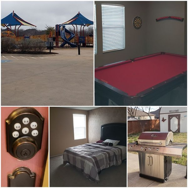Spacious 3 bedroom + 2.5 bath house with clean family Park on same street, vacation rental in Godley