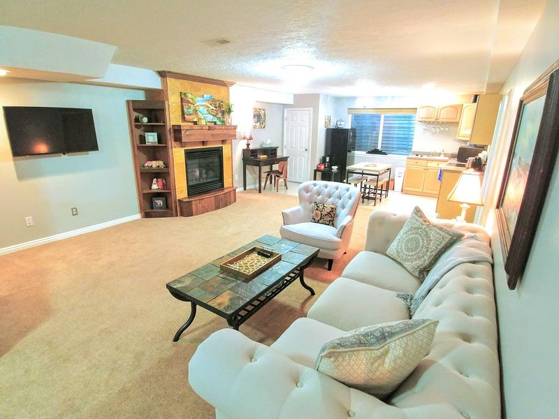 Huge living room with plenty of light, and tall ceilings. Large roku TV.